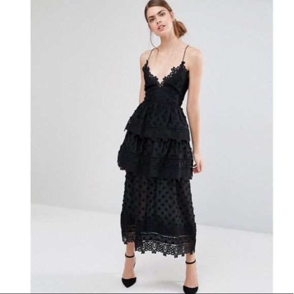 1d8ca3f34e765 Self portrait black midi lace dress